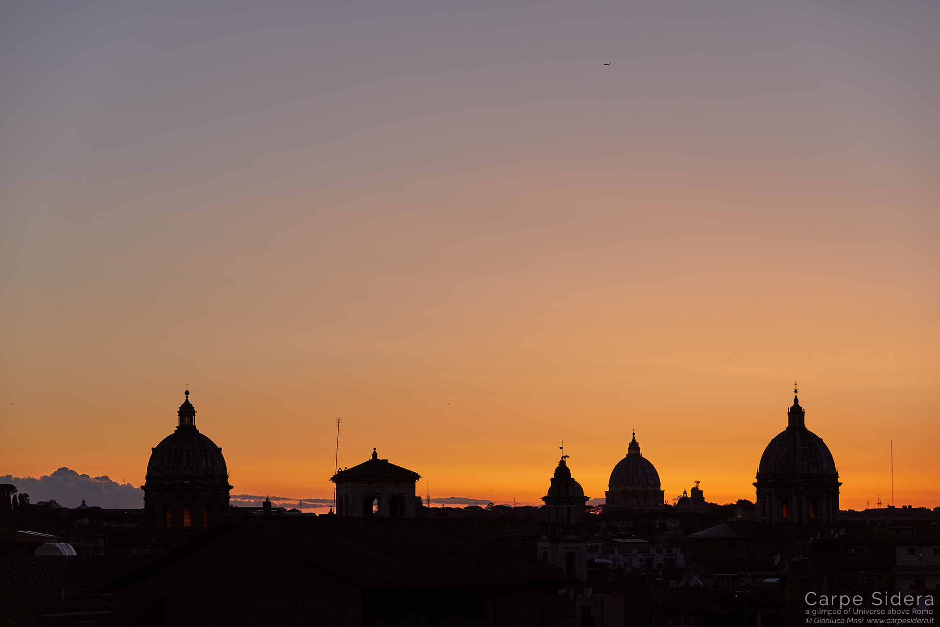 The changing colors of sunset are always amazing. Domes are, from left to right: San Biagio e Carlo ai Catinari, St. Peter and Sant'Andrea della Valle.