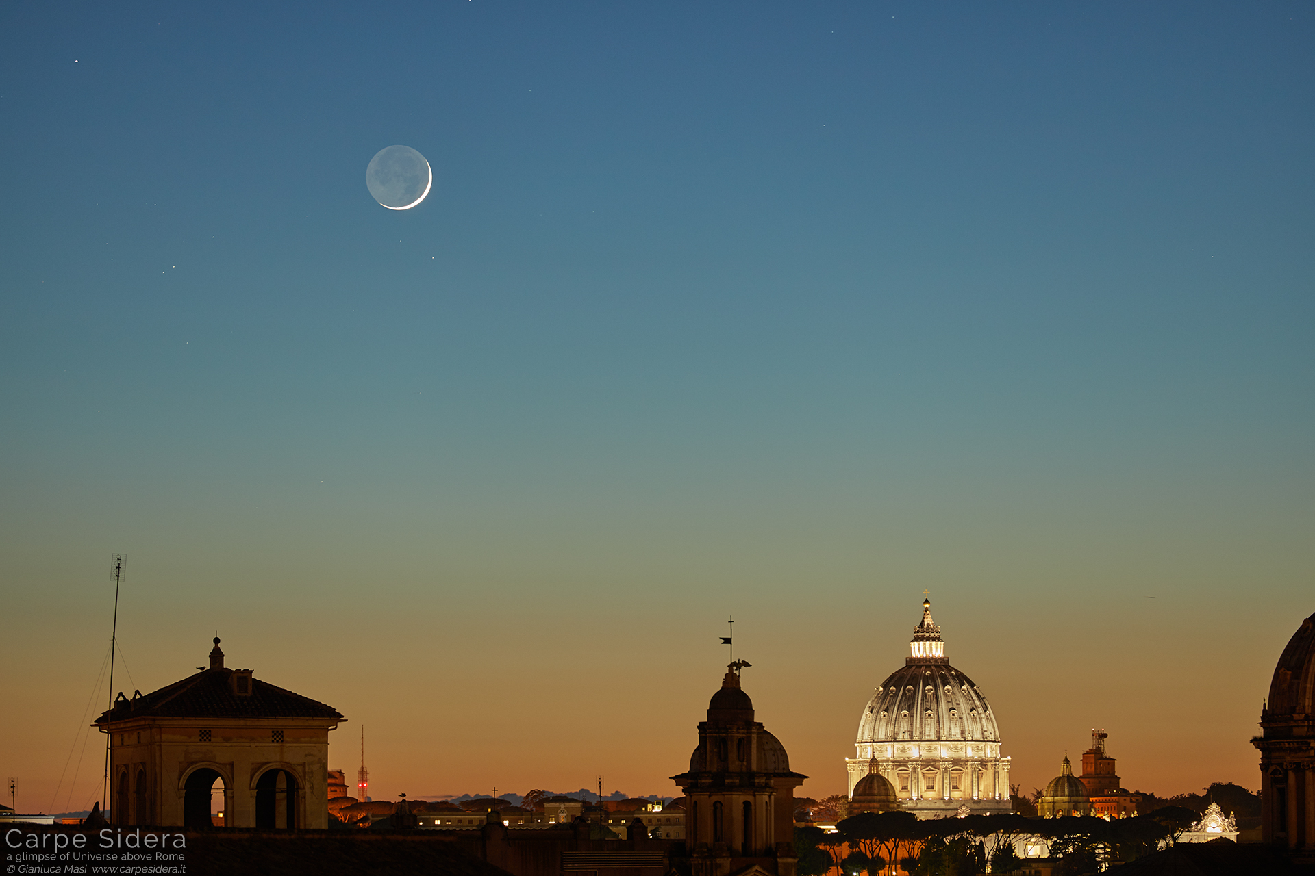 A sharp Moon crescent adds its speechless beauty above St. Peter's Dome, at sunset. The star Aldebaran is visible in the upper left corner.