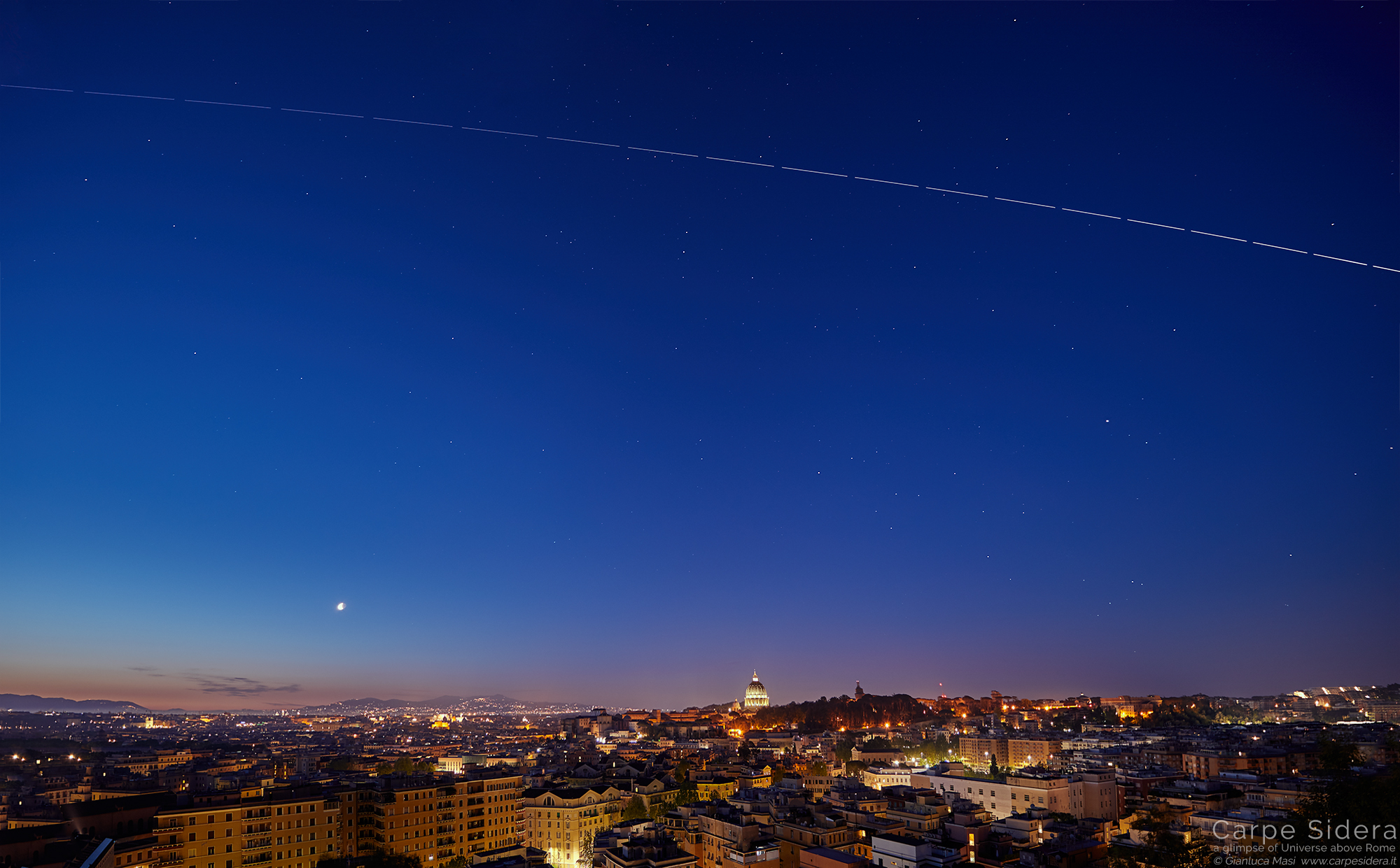 The International Space Station (ISS) crosses the sky above Rome at dawn - 30 Apr. 2019