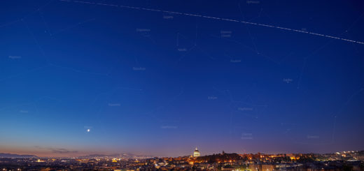 The International Space Station (ISS) crosses the sky above Rome at dawn. Constellations and planets are marked – 30 Apr. 2019