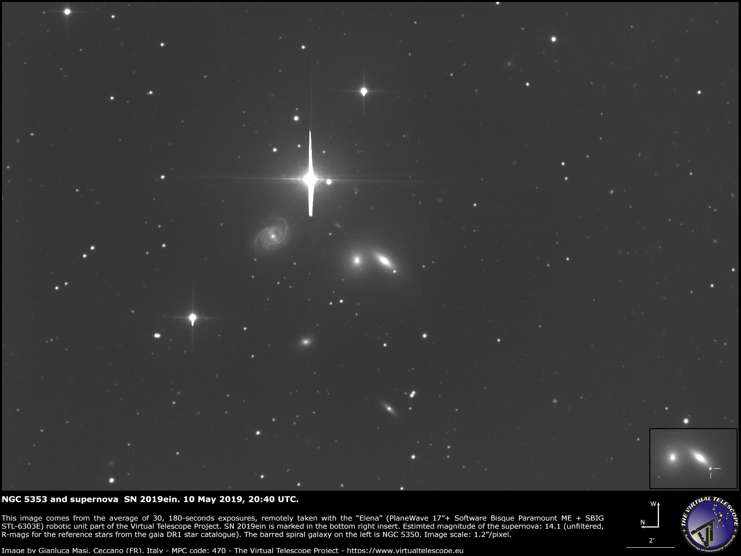 Supernova SN 2019ein in NGC 5353. 10 May 2019.