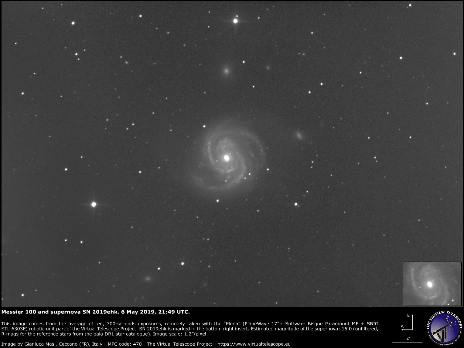 Supernova SN 2019ehk in Messier 100: 6 May 2019