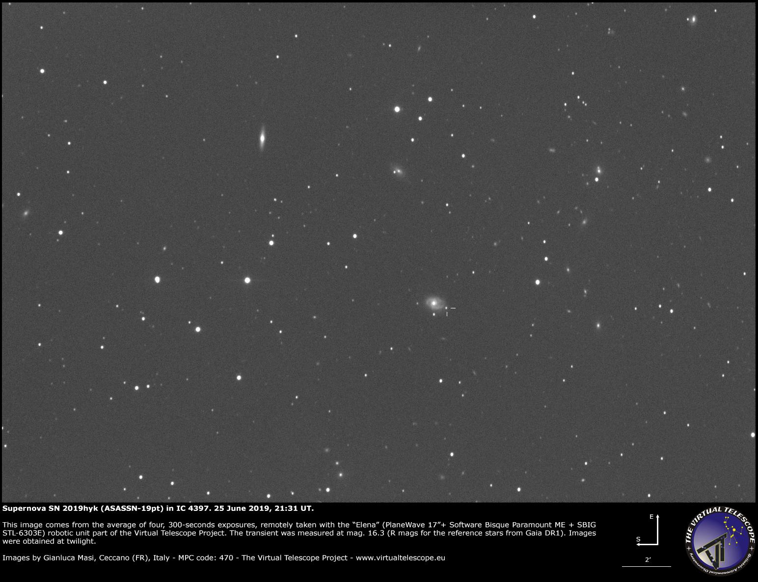 Supernova SN 2019hyk in the spiral galaxy IC 4397: 25 June 2019