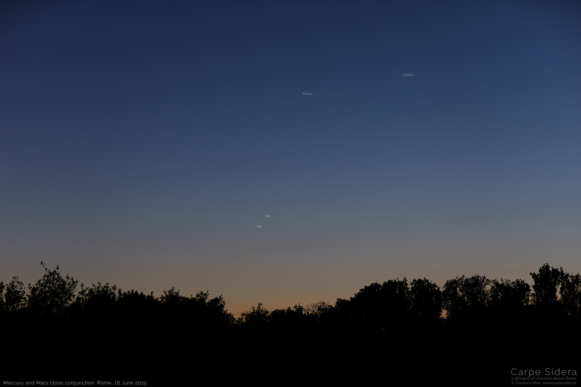 """Mercury and Mars shine together with Castor and Pollux, the brightest stars in Gemini (""""Twins"""") - 18 June 2019"""