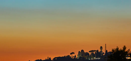 Planet Mercury sets beyond the Monte Mario Observatory in Rome - 5 June 2019