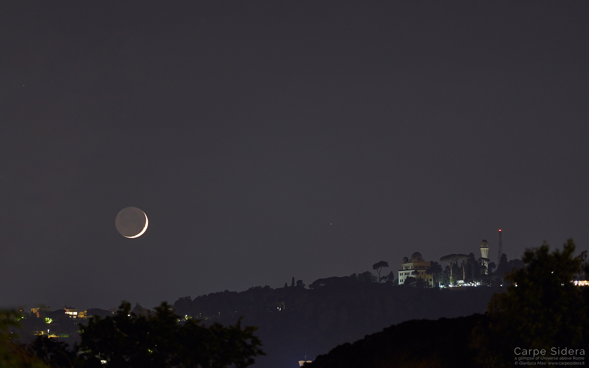 The Moon and Mars shine beside Monte Mario observatory on Rome - 5 June 2019