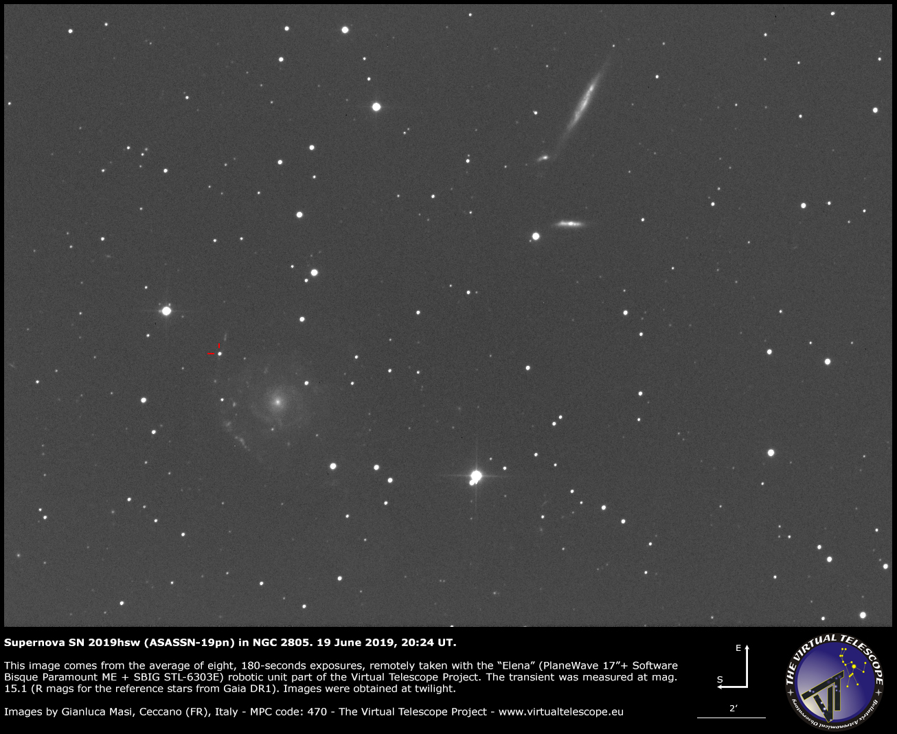 Supernova SN 2019hsw in NGC 2805: 19 June 2019