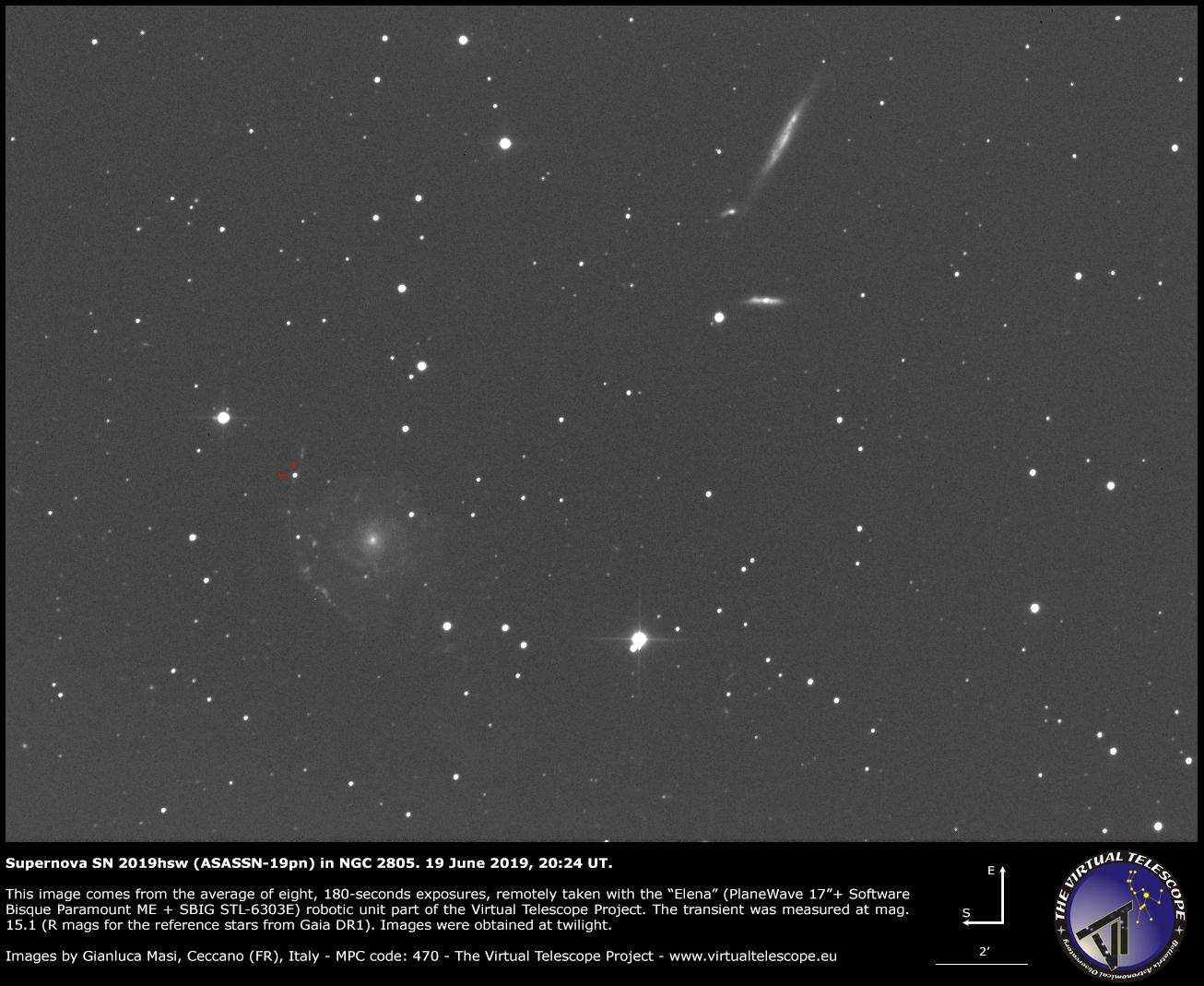 Supernova SN 2019hsw in NGC 2805: 19 June 2019