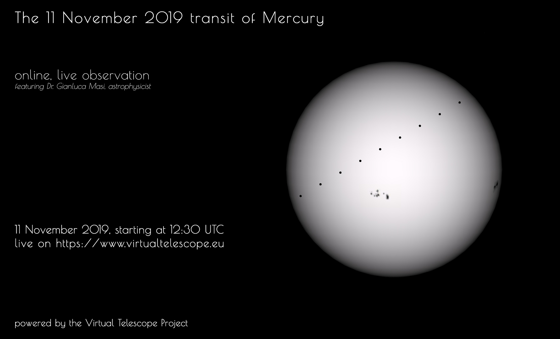 The 11 Nov. 2019 transit of Mercury : online observing session - poster of the event