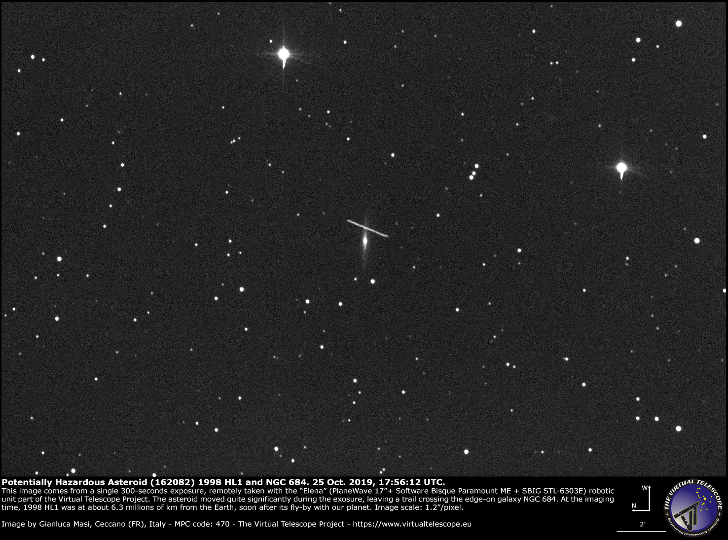 Potentially Hazardous Asteroid (162082) 1998 HL1 and galaxy NGC 684 - 25 Oct. 2019