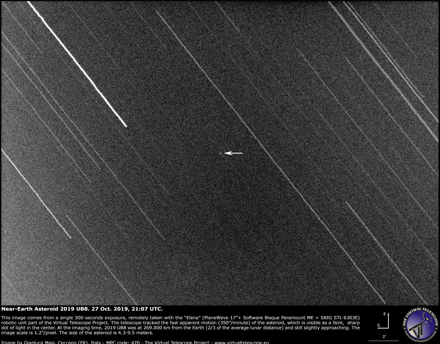 Near-Earth Asteroid 2019 UB8 very close encounter: an image (29 Oct. 2019)