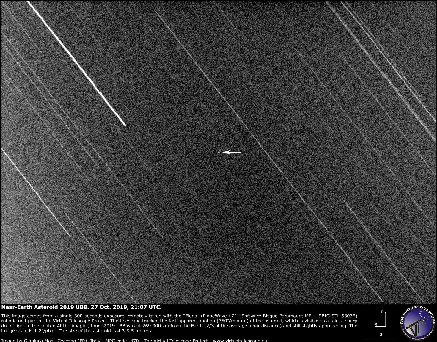 Near-Earth Asteroid 2019 UB8 very close encounter: an image (29 Oct. 2019)