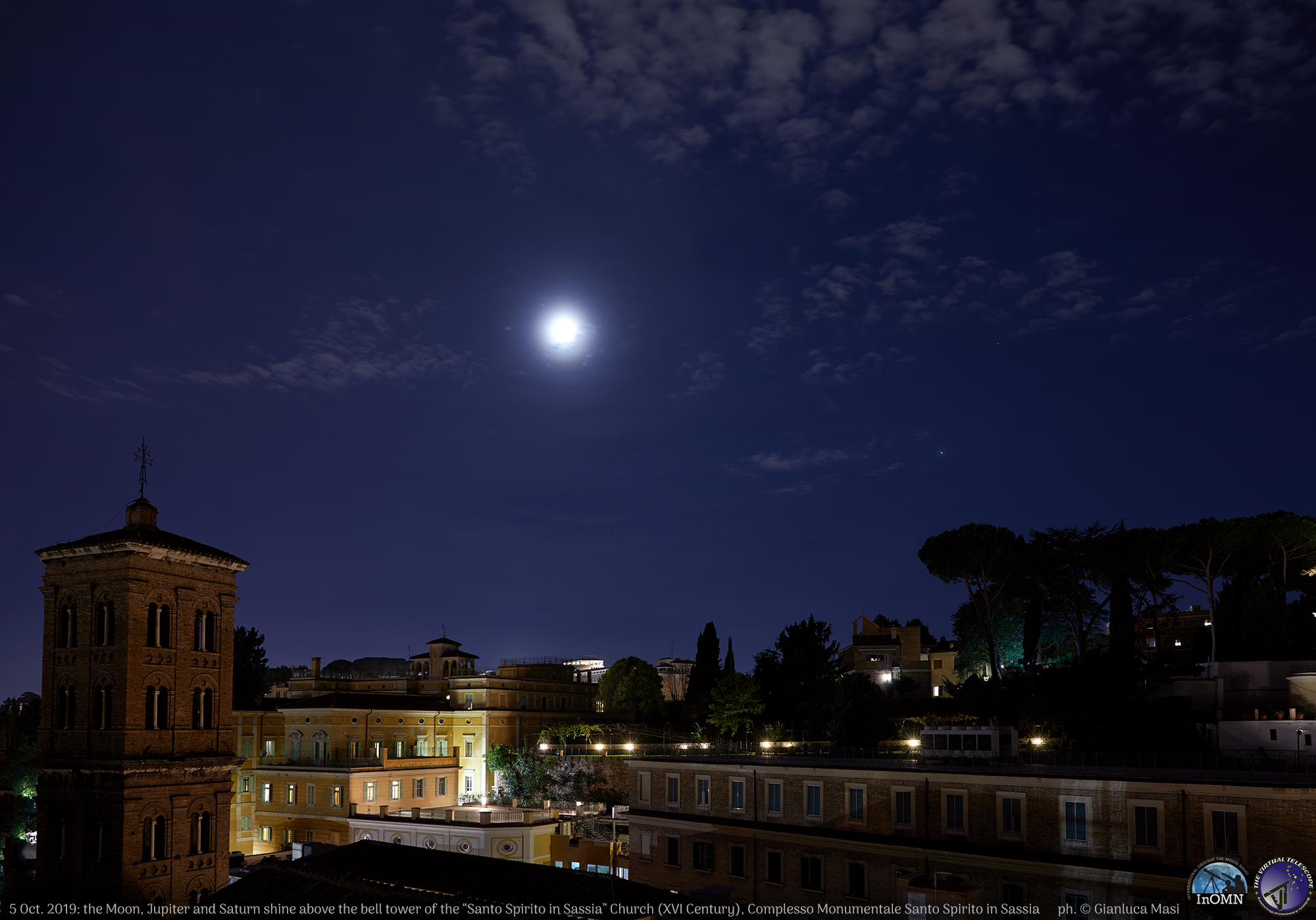 """The Moon, Jupiter and Saturn (just upper left from the Moon) shone above the tower bell of the ancient """"Complesso Monumentale di Santo Spirito in Sassia"""", Rome. - 5 Oct. 2019"""