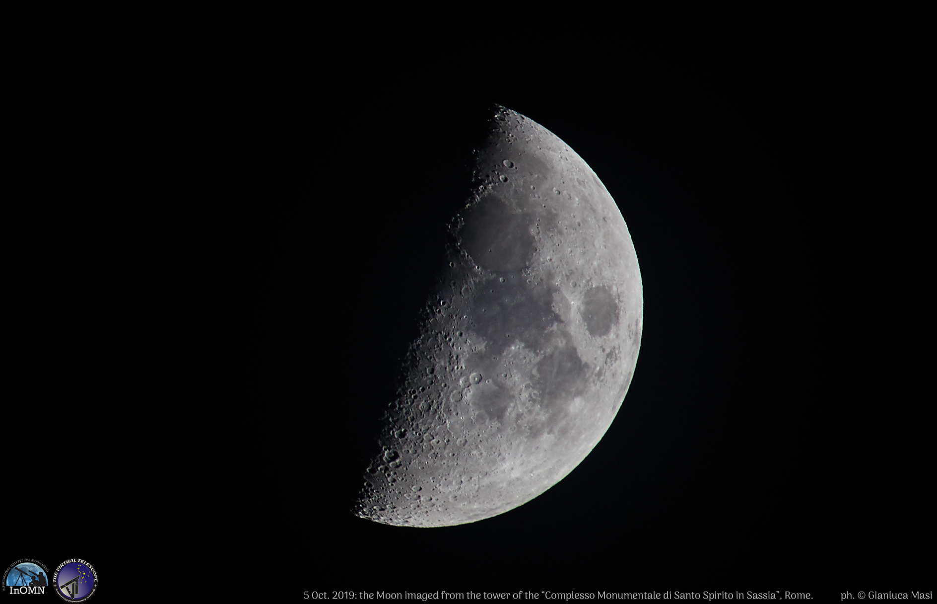 The Moon shows some of its beautiful craters and dark seas.
