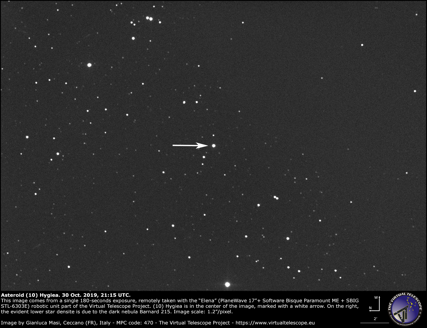 Asteroid (10) Hygiea - 30 Oct. 2019