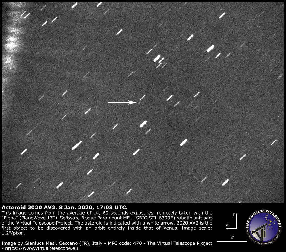 Asteroiden 2020AV2 som holder sig inden for Venus bane