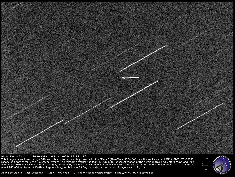 Near-Earth Asteroid 2020 CG2: 16 Feb. 2020