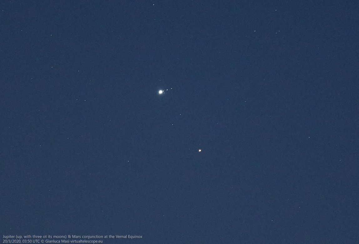 While shining with Mars, Jupiter shows its satellites Io, Ganymede and Callisto.