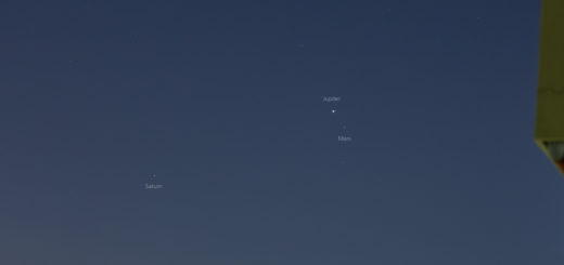 The Jupiter-Mars conjunction, with Saturn on the left - 20 Mar. 2020, 03:50 UTC, Vernal Equinox.