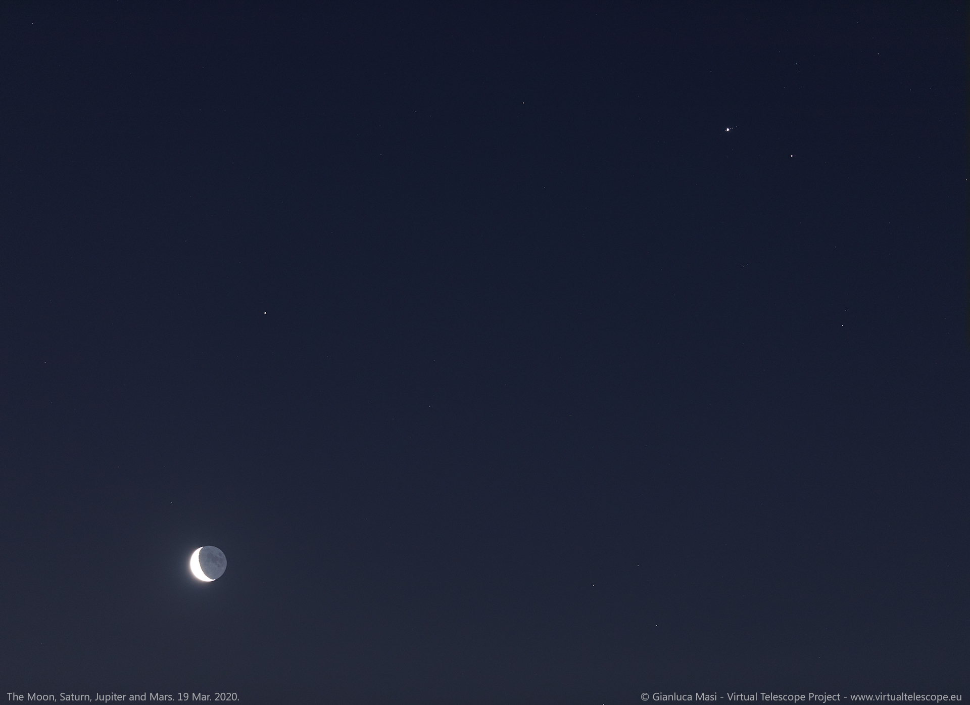 The Moon, Saturn, Jupiter and Mars shine at dawn. 19 Mar. 2020