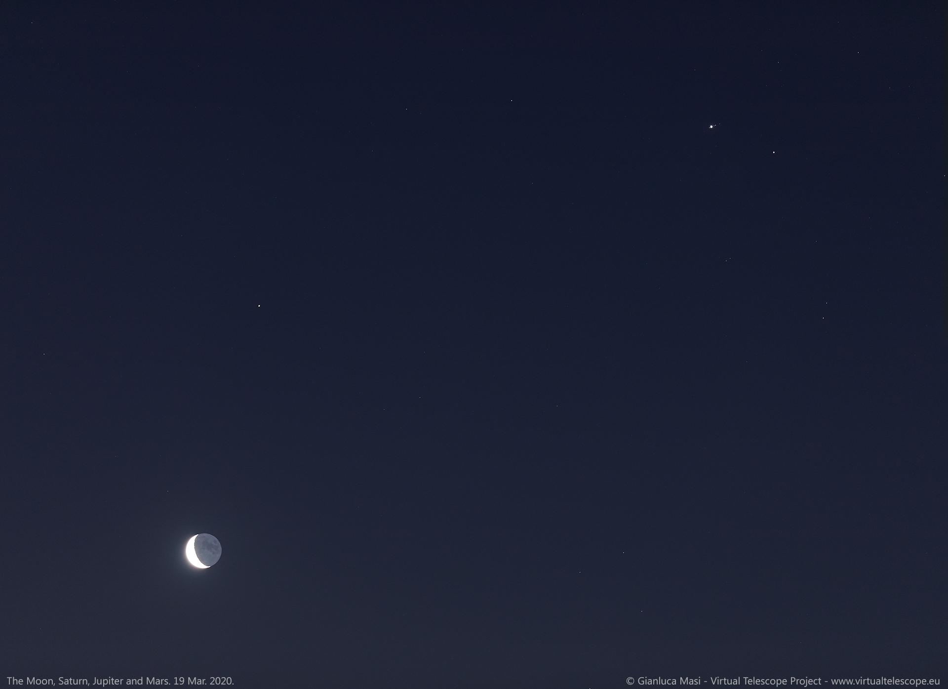 The Moon, Saturn, Jupiter and Mars shine at dawn. 19 Mar. 2020