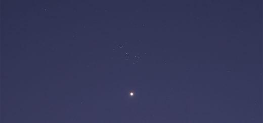 Venus & Pleiades. 1 Apr. 2020.