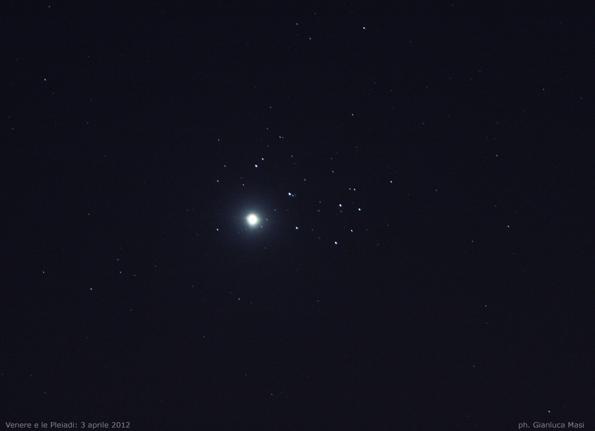 Venere e le Pleiadi. 3 Apr. 2012. © Gianluca Masi