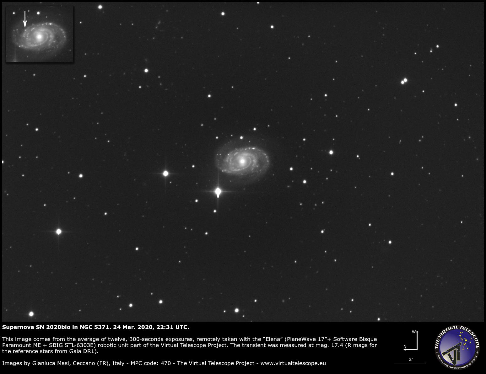 Supernova SN 2020bio in NGC 5371. 24 Mar. 2020