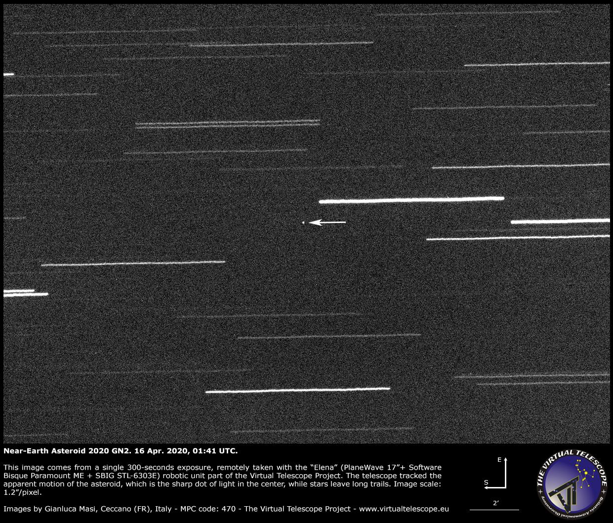 Near-Earth Asteroid 2020 GN2. 16 Apr. 2020, 22:44 UTC.