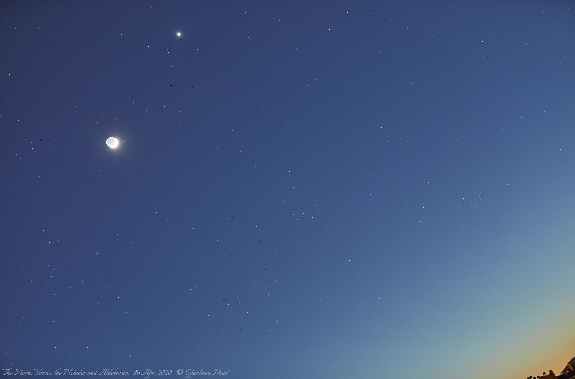 The Moon, Venus, Aldebaran and the Pleiades. 26 Apr. 2020