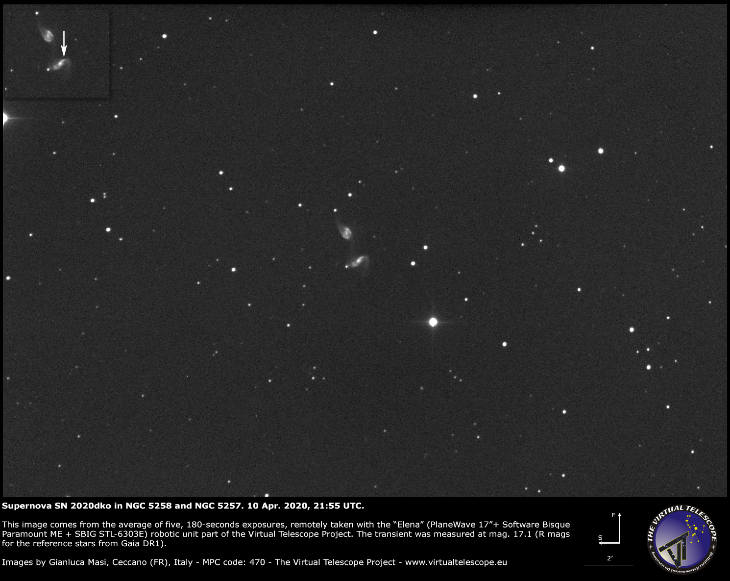 NGC 5258 and supernova SN 2020dko - 10 Apr. 2020