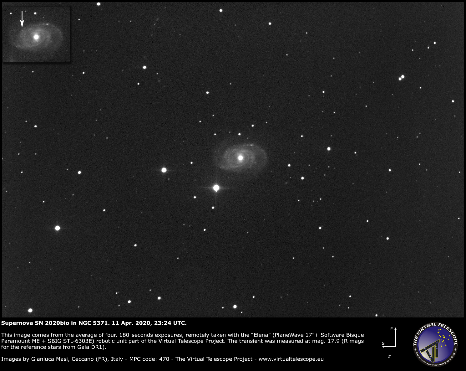 Supernova SN 2020bio in NGC 5371. 11 Apr. 2020