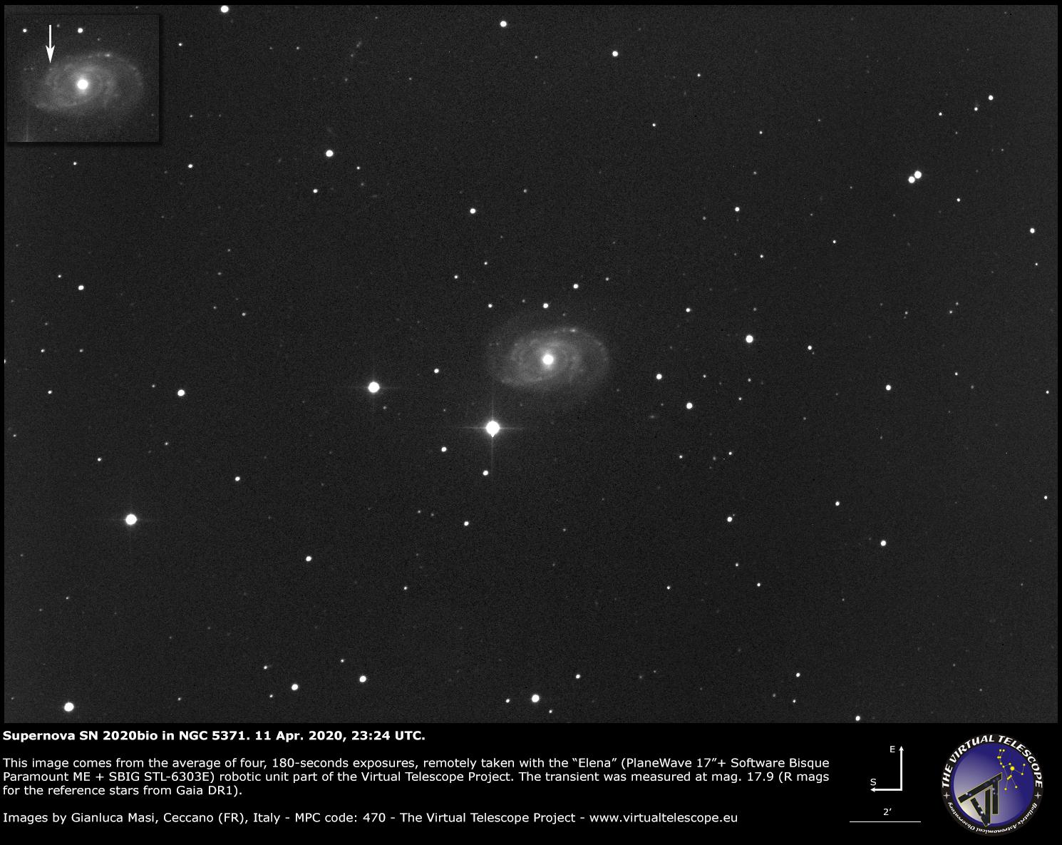 Supernova SN 2020bio in NGC 5371. 11 Apr. 2020