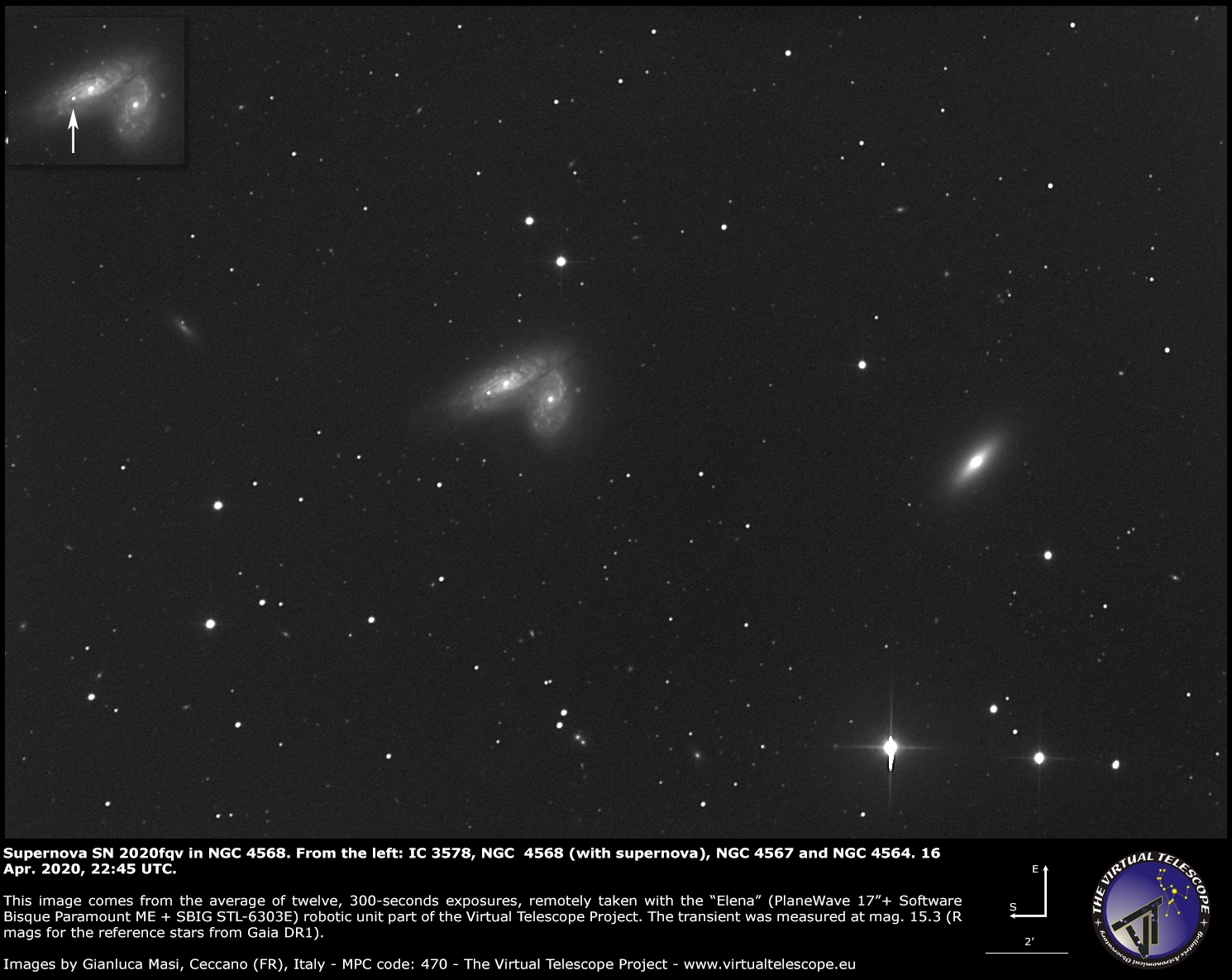 Supernova SN 2020fqv in NGC 4568: a image - 16 Apr. 2020