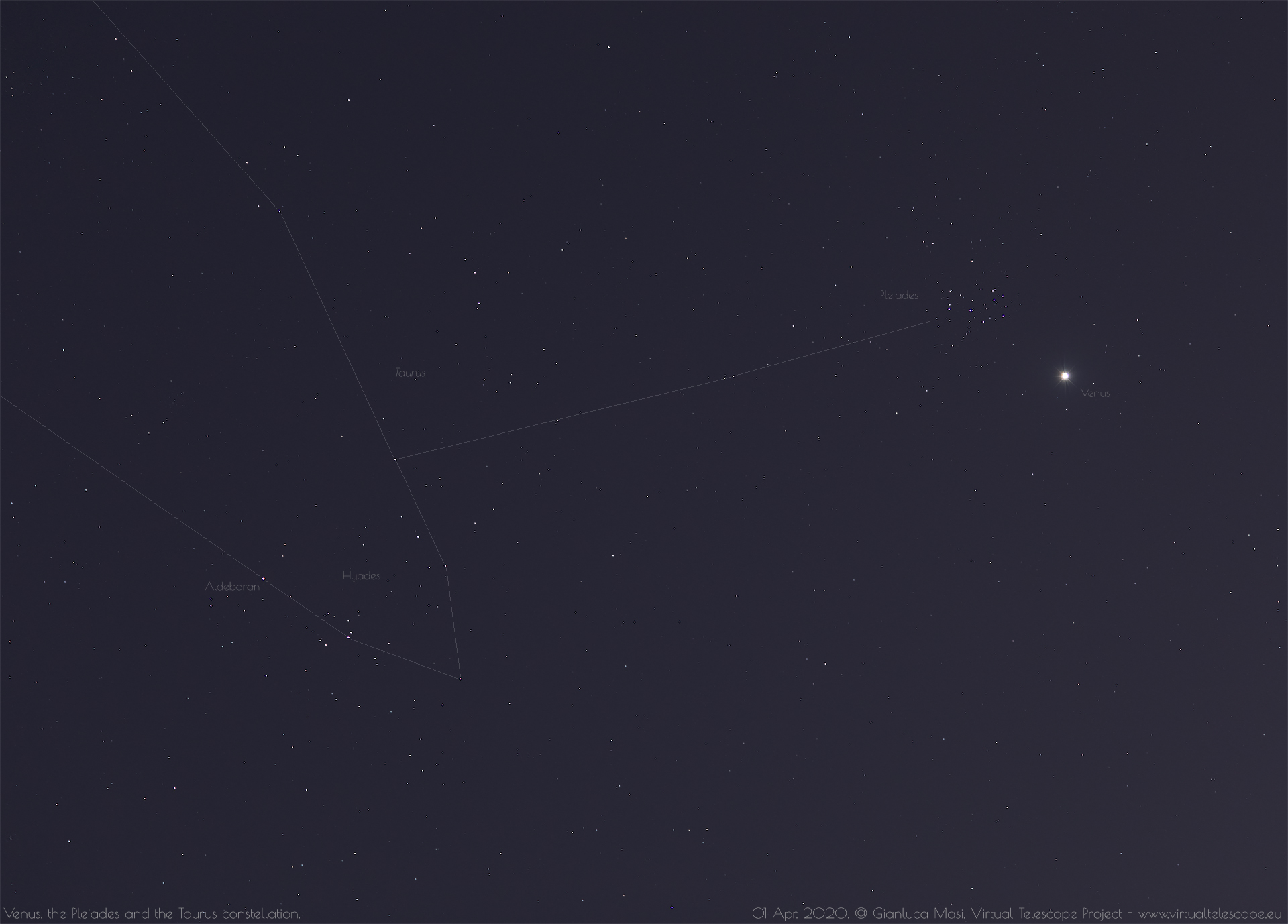 Venus, the Pleiades and part of the Taurus constellation. 1 Apr. 2020