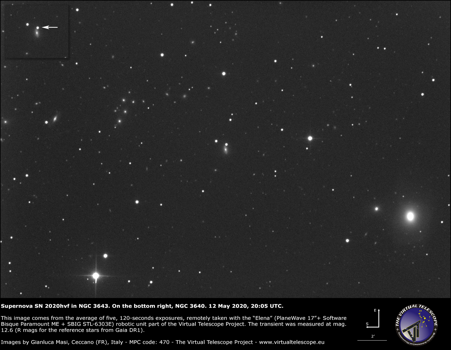 NGC 3643 and the bright supernova SN 2020hvf - 12 May 2020