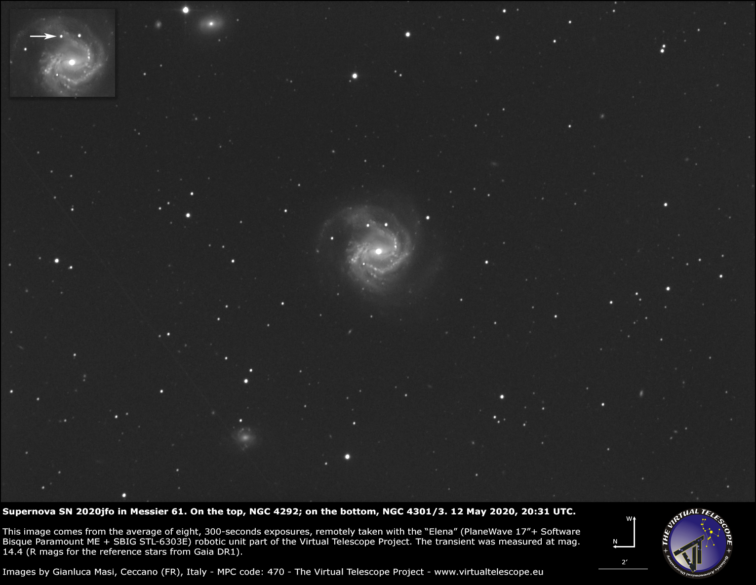 Supernova SN 2020jfo in Messier 61. 12 May 2020.