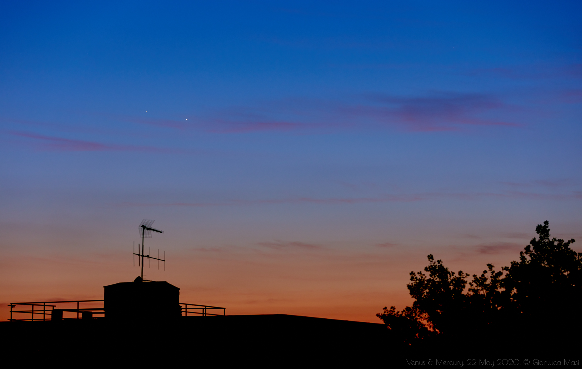 Venus and Mercury shine in the glory of the sunset - 22 May 2020.