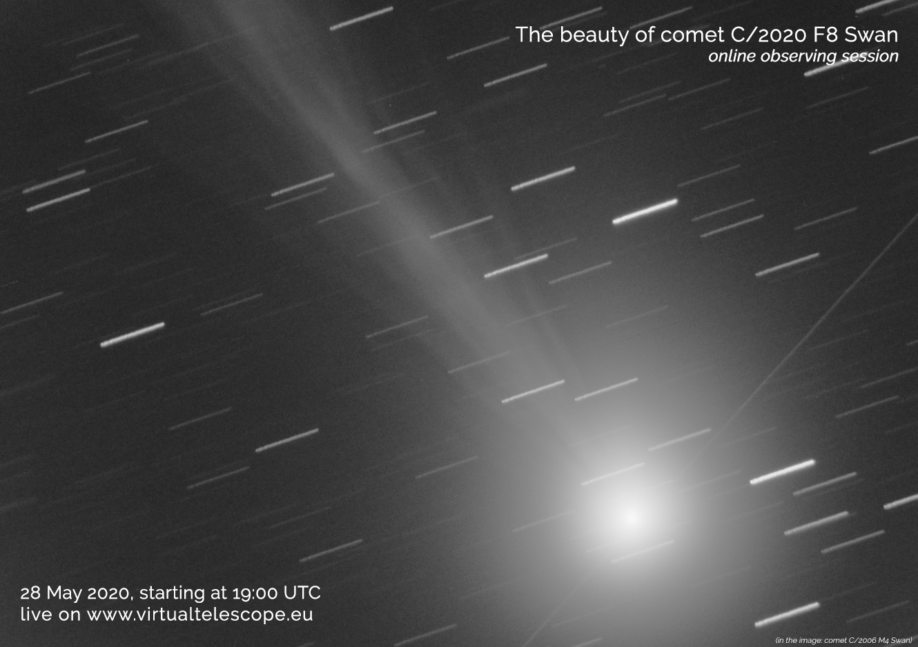 """""""The Beauty of Comet C/2020 F8 Swan"""": poster of the event."""