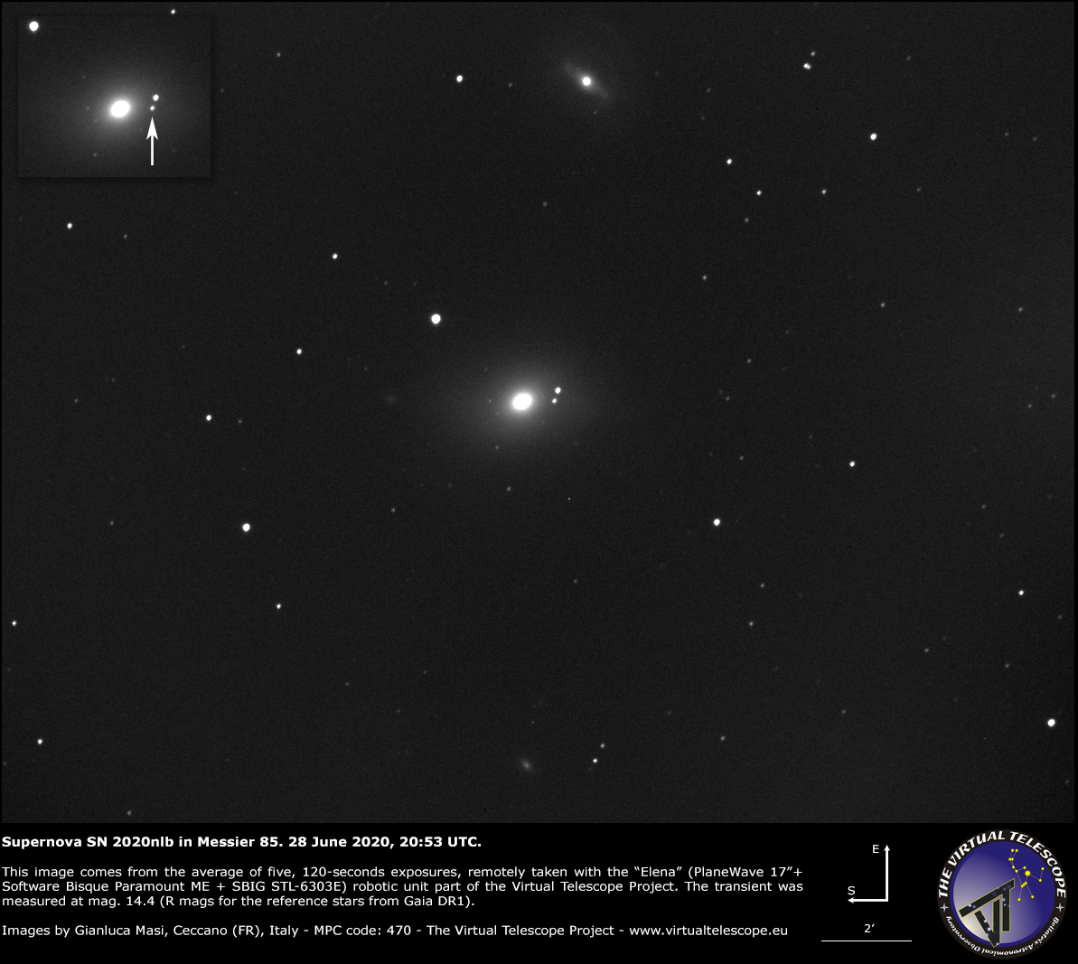 Supernova SN 2020nlb in Messier 85: an image - 28 June 2020