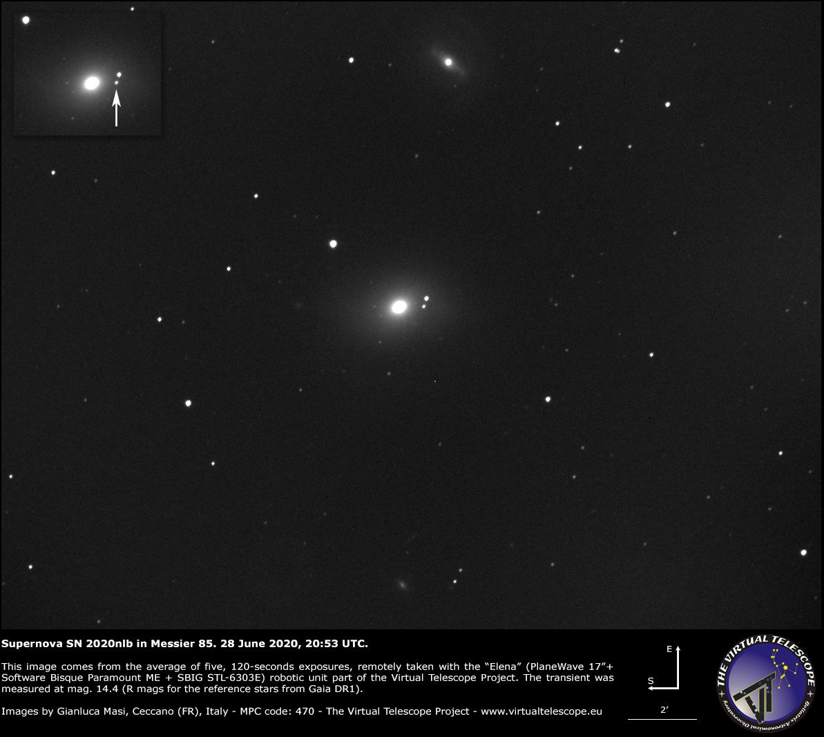 Supernova SN 2020nlb in Messier 85: an image - 28 June 2020