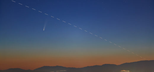 Comet C/2020 F3 Neowise above Rome at dawn, with the International Space Station crossing the field of view - 7 July 2020.