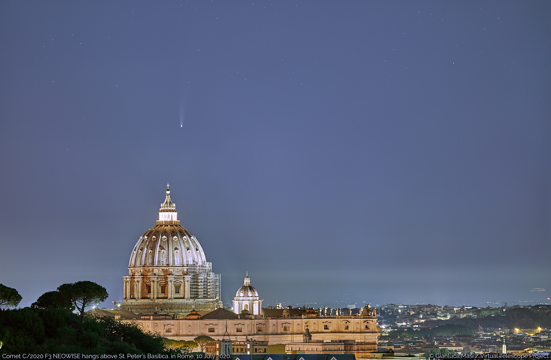 Comet C/2020 F3 NEOWISE hangs above the St. Peter's Basilica in Rome - 10 July 2020.