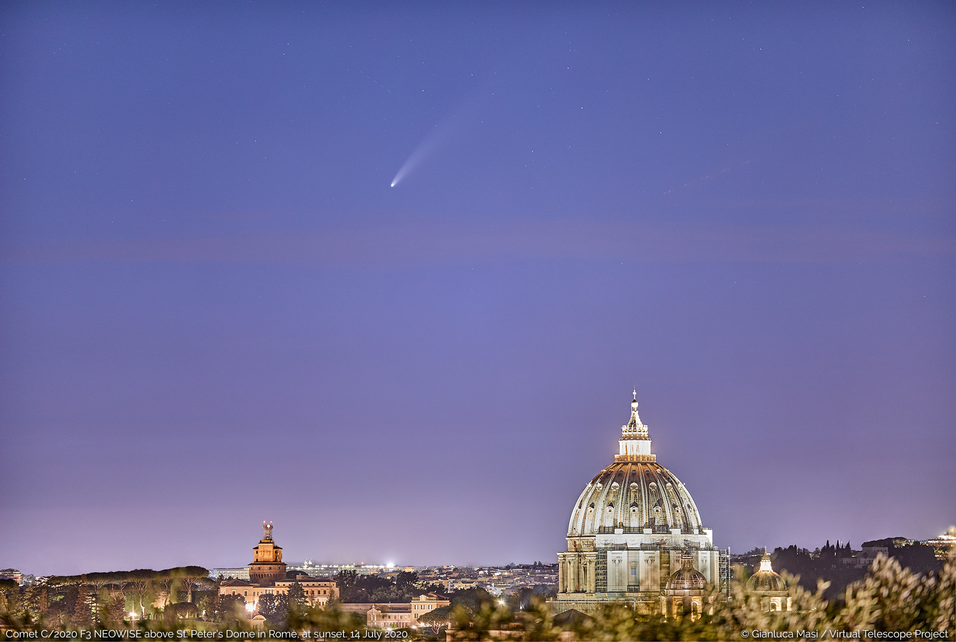 Comet C/2020 F3 NEOWISE is perfectly placed above St. Peters Dome - 14 July 2020.