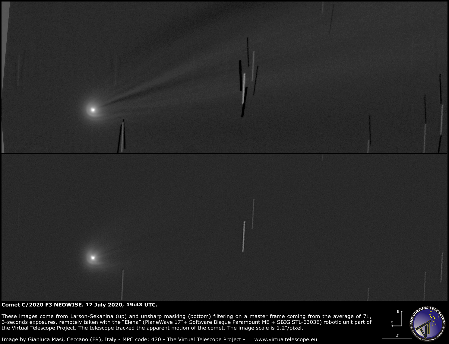 Comet C/2020 F3 NEOWISE: a close-up - 17 July 2020.
