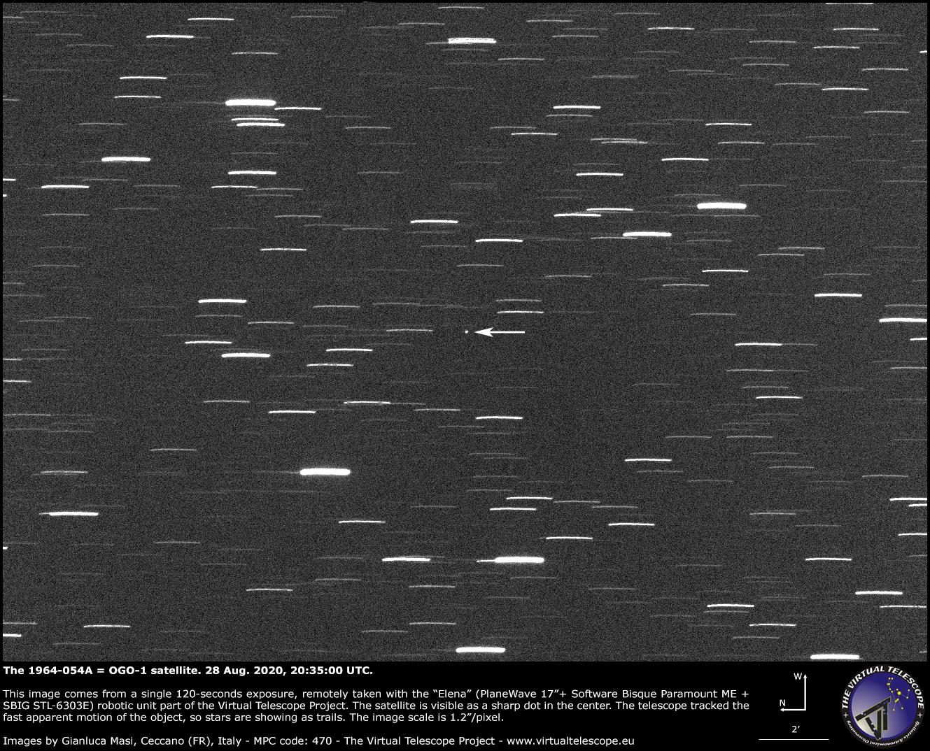 The 1964-054A = OGO-1 satellite. 28 Aug. 2020.