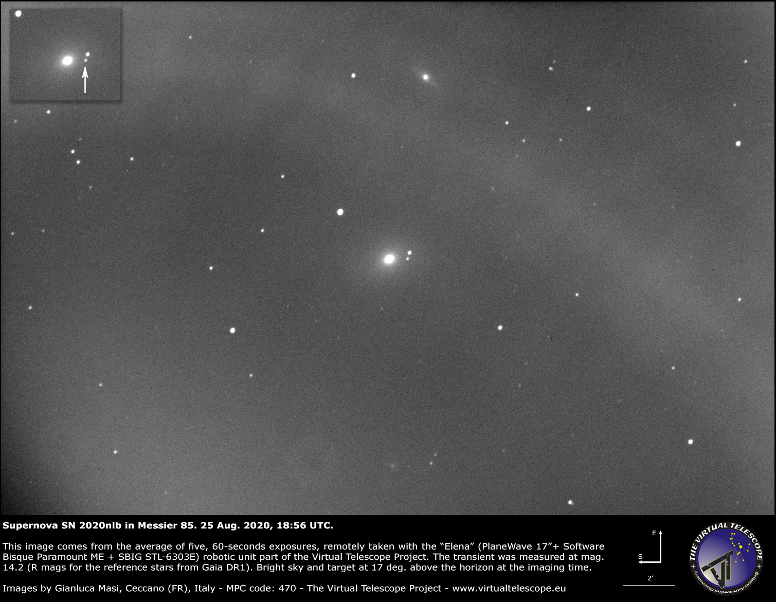 Supernova SN 2020nlb in Messier 85: an image - 25 Aug. 2020.