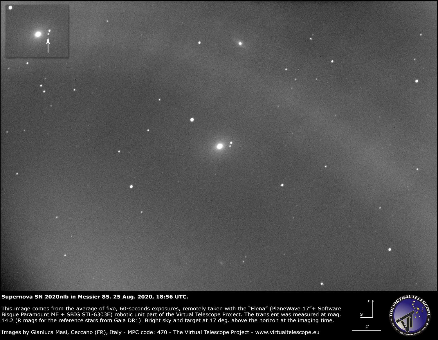 Supernova SN 2020nlb in Messier 85: an image - 25 Aug. 2020.