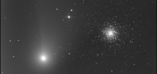 Comet C/2020 F3 NEOWISE and globular cluster Messier 53. 6 Aug. 2020.