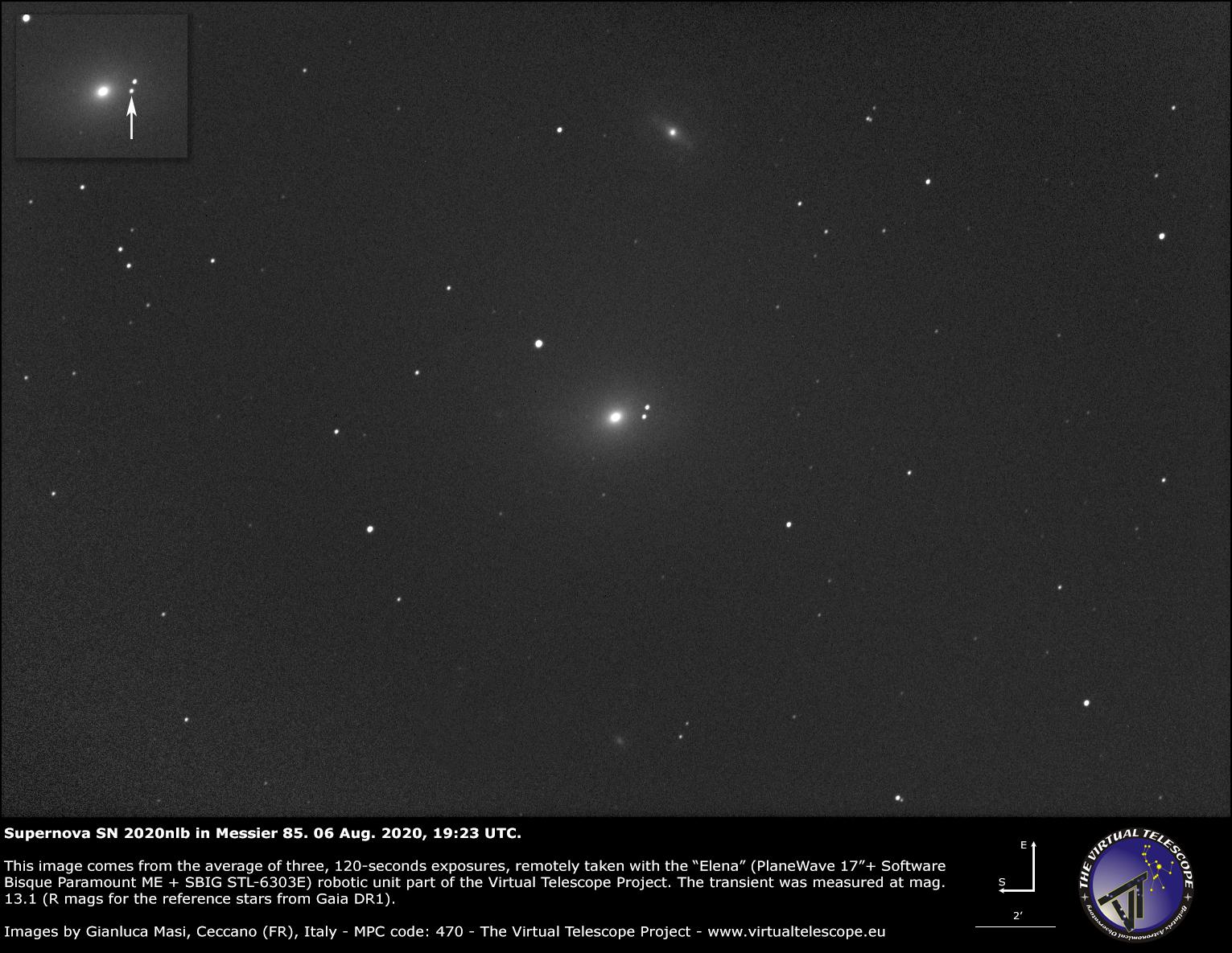 Supernova SN 2020nlb in Messier 85: an image - 06 Aug. 2020.